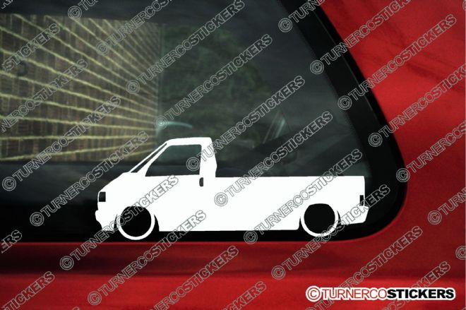 "2x Low car outline stickers - for Volkswagen T4 single cab ""pickup"" converted transporter"